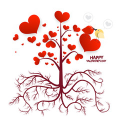 tree with hearts isolated on white background vector image