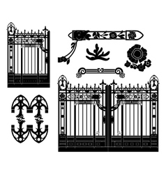 wrought iron gate and decoration vector image vector image