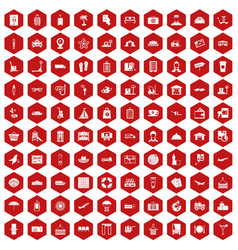 100 luggage icons hexagon red vector image
