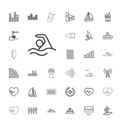 33 wave icons vector