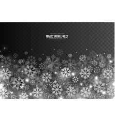 3d magic falling snow effect vector