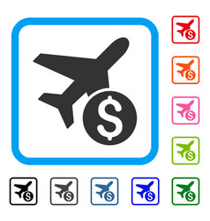 airplane price framed icon vector image