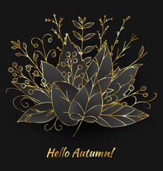 autumn bouquet made of golden leaves vector image