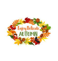 Autumn seasonal harvest greeting poster vector