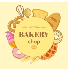 Bakery Flat Round Composition vector image