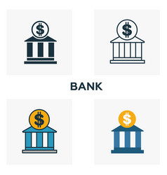 bank outline icon thin style design from city vector image