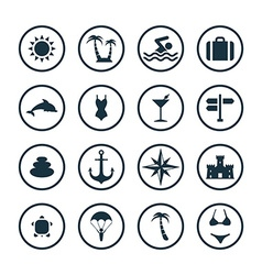 beach icons universal set vector image
