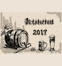 Beer barrel glass sketch oktoberfest festival vector