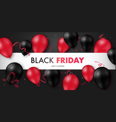 black friday sale banner with glossy vector image