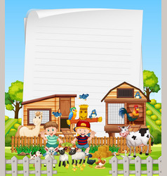 blank paper in organic farm with animal farm set vector image