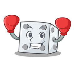 Boxing dice character cartoon style vector