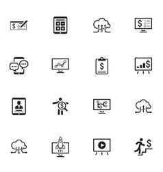 business and money icons set flat design vector image