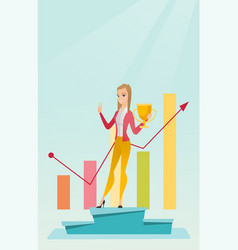 Business woman proud of her business award vector