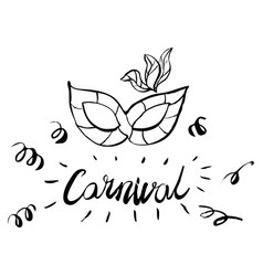 carnival hand drawn lettering and mask for brasil vector image