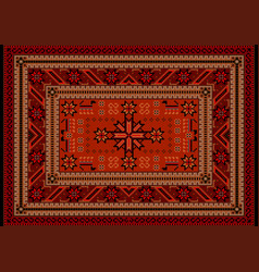 Carpet with oriental vintage ornament in red shade vector