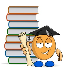 Cartoon character graduation with books vector
