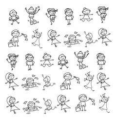 cartoon character kids playing vector image