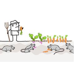 Cartoon unhappy farmer because mice eating his vector