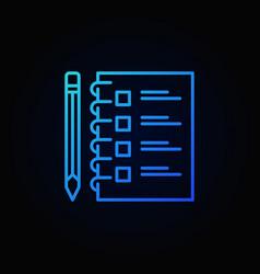 checklist with pencil blue outline icon vector image