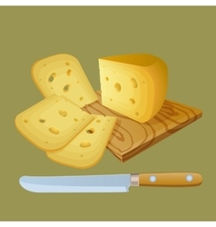Cheese cut into chunks vector