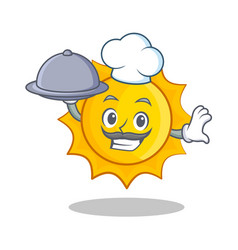 Chef with foof cute sun character cartoon vector