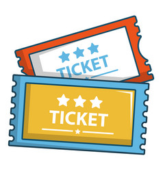 Cinema tickets icon cartoon style vector