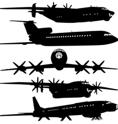 Collection of different airplane silhouettes for d vector image