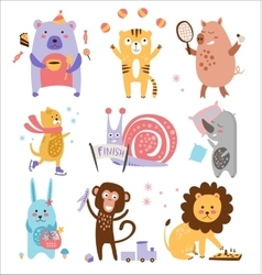 Colourful Childish Animals Set vector