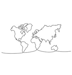 continuous one line drawing world map vector image