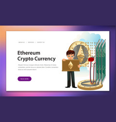 Cryptocoin mining ethereum poster vector