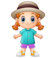 Cute cartoon little girl in a hat vector