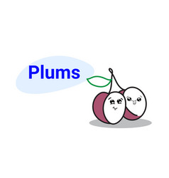 cute plums cartoon comic characters with smiling vector image