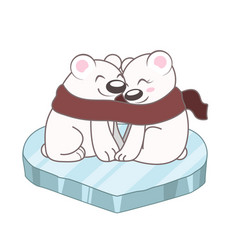 cute polar bears cuddling vector image