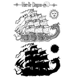 design set with sea dragon and old ship vector image