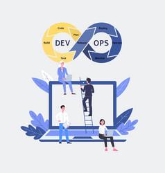 Devops software and development operations team vector