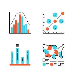 Diagram color icons set histogram bar graph vector