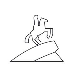 Equestrian horse statue line icon sign vector