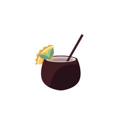 exotic cocktail in coconut - tropical drink vector image