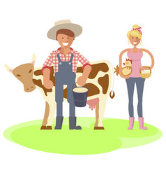 Farmers family gardeners cartoon people vector