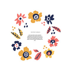 Floral wedding greeting card hand drawn layout vector