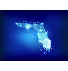 Florida state map polygonal with spot lights vector image