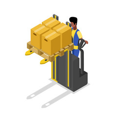 forklift cart loading boxes isometric 3d icon vector image