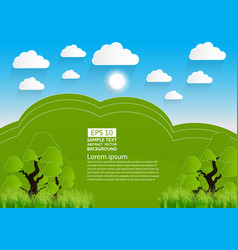 green landscape mountain with trees and clouds vector image