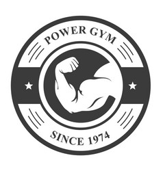 gym badge - bodybuilder hand sport emblem vector image