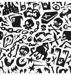 Halloween monsters - seamless background vector image
