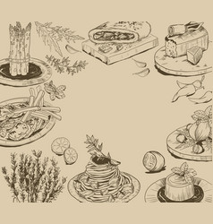 Hand drawn background with food elements vector