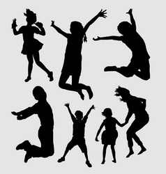 Happy and healthy kids silhouette vector