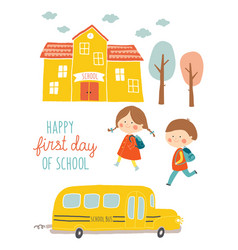 Happy first day of school card design kids going vector