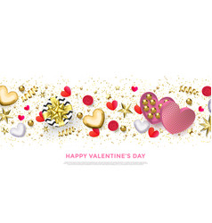 happy valentines day greeting card heart gifts vector image