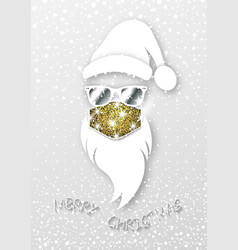 Hipster santa claus wears glitter surgical mask vector